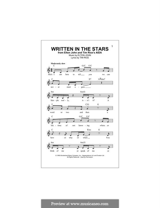 Written in the Stars: Melody line by Elton John