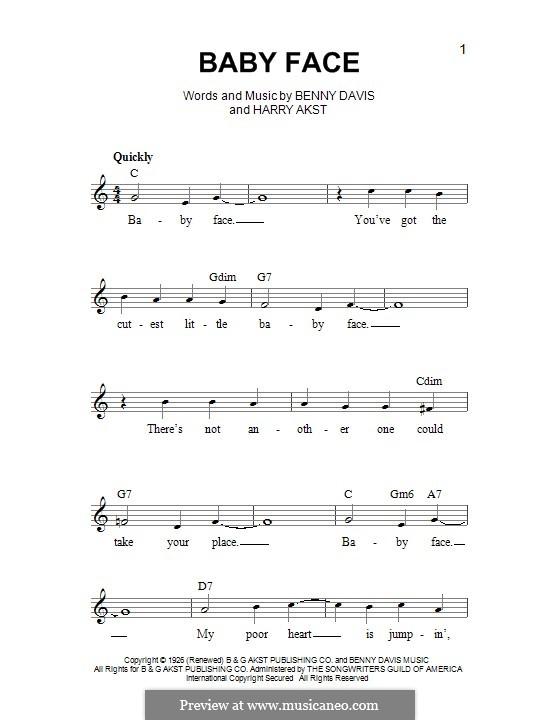 Baby Face: Melody line by Benny Davis