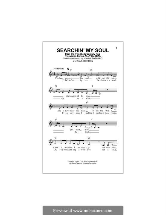 Searchin' My Soul (theme from Ally McBeal): Melody line by Paul Gordon, Vonda Shepard