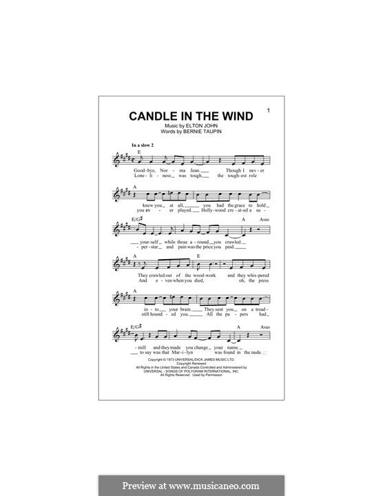Candle in the Wind: Melody line by Elton John