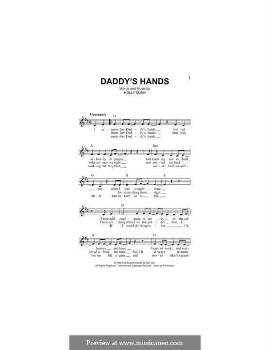 Daddy's Hands: Melody line by Holly Dunn