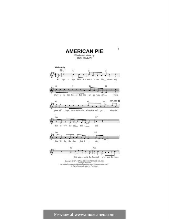 American Pie (Madonna): Melody line by Don McLean