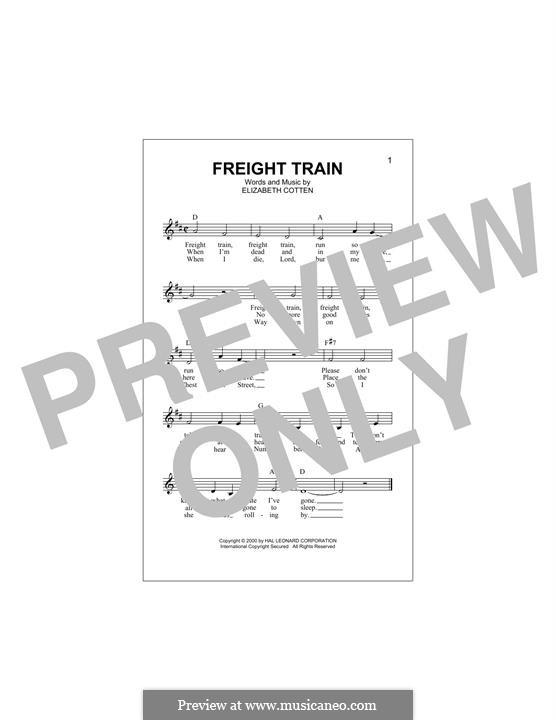 Freight Train: Melody line by Elizabeth Cotten