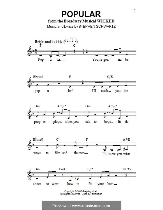 Popular (from Wicked): Melody line by Stephen Schwartz