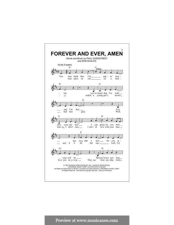 Forever and Ever, Amen (Randy Travis): Melody line by Don Schlitz, Paul Overstreet