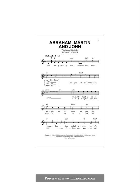 Abraham, Martin and John (Marvin Gaye): Melody line by Dick Holler