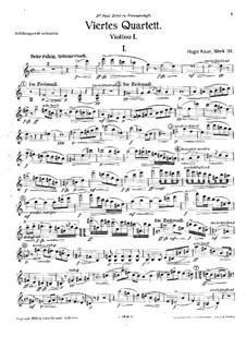 String Quartet No.4 in A Minor, Op.114: Violin I Part by Hugo Kaun