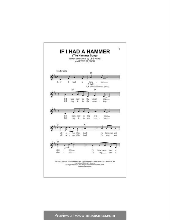 If I Had a Hammer (The Hammer Song): Melody line by Lee Hays, Peter Seeger