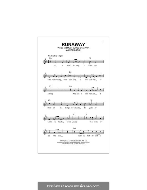 Runaway: Melody line by Del Shannon, Max Crook