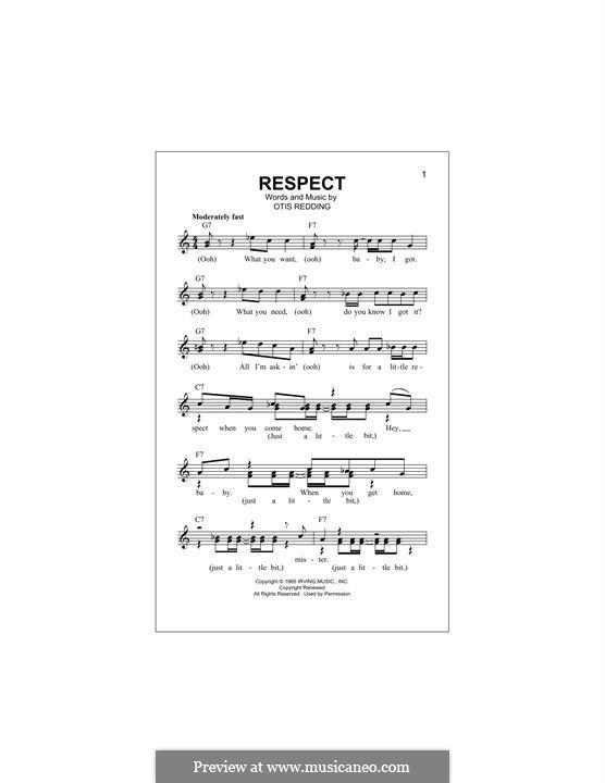 Respect (Aretha Franklin): Melody line by Otis Redding