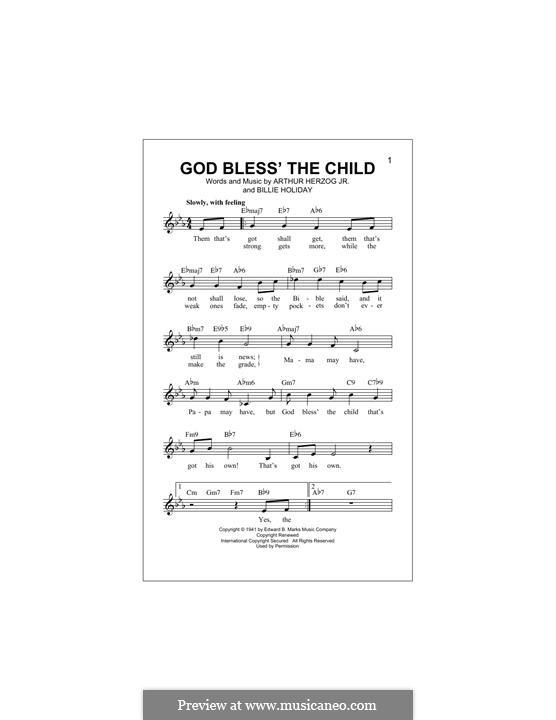 God Bless' the Child (Eva Cassidy): Melody line by Arthur Herzog, Billie Holiday