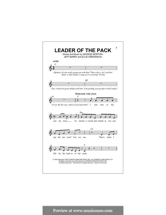 Leader of the Pack: Melody line by Ellie Greenwich, George Morton, Jeff Barry
