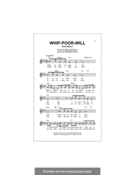 Whip-Poor-Will: Melody line by Jerome Kern