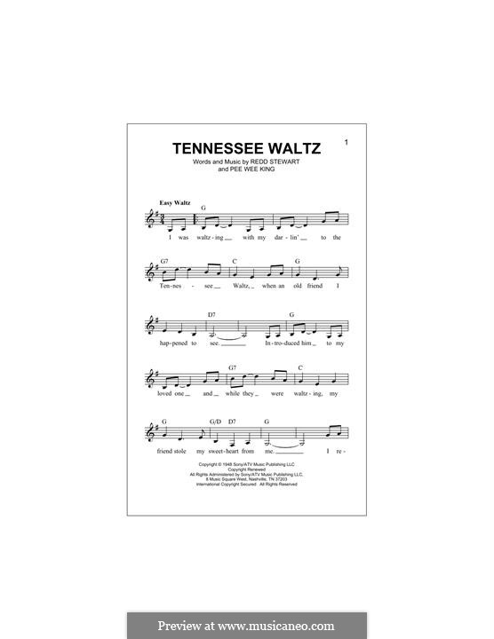 Tennessee Waltz (Patty Page): Melody line by Pee Wee King, Redd Stewart