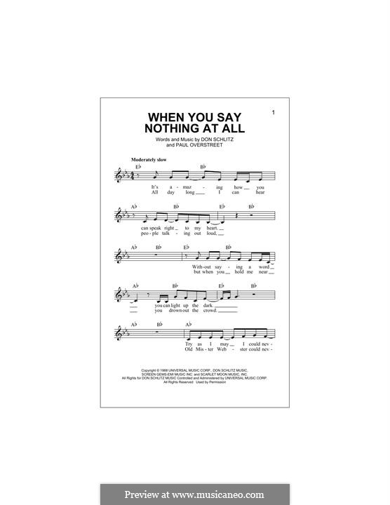 When You Say Nothing at All (Alison Krauss & Union Station): Melody line by Don Schlitz, Paul Overstreet