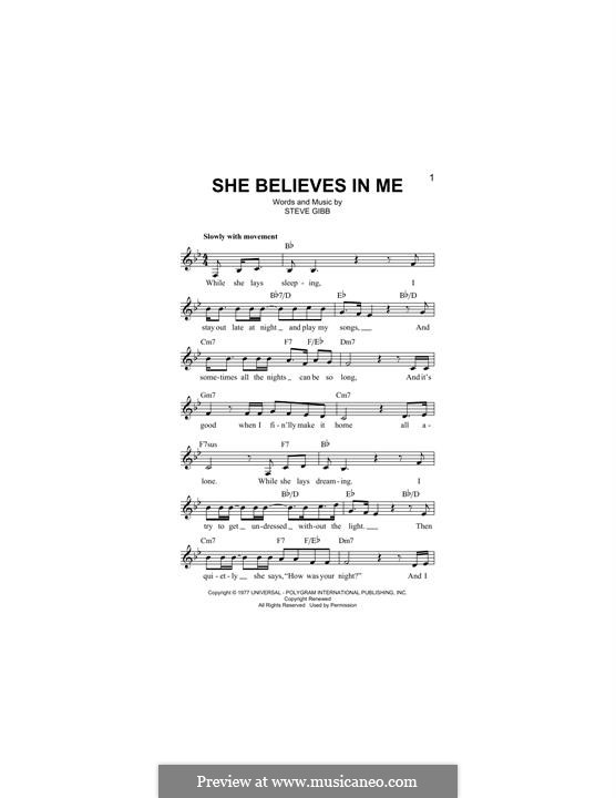 She Believes in Me: Melody line by Stephen Gibb