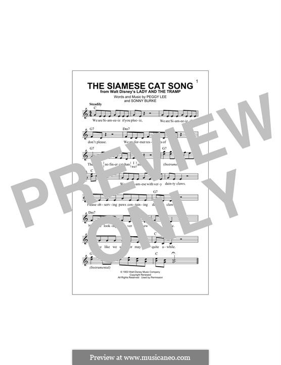 The Siamese Cat Song (from Lady and the Tramp): Melody line by Peggy Lee, Sonny Burke
