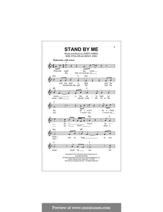 Stand By Me By Be King J Leiber M Stoller Sheet Music On