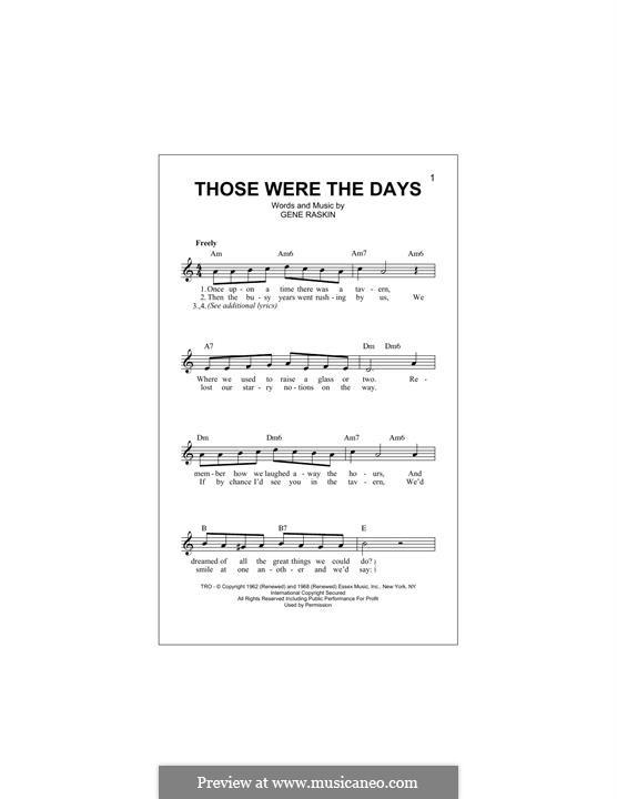 Those Were the Days: Melody line by Gene Raskin