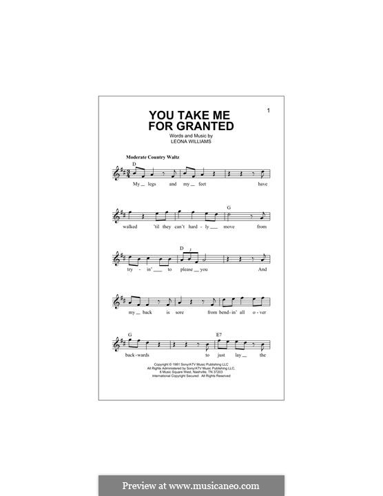 You Take Me for Granted (Merle Haggard): Melody line by Leona Williams
