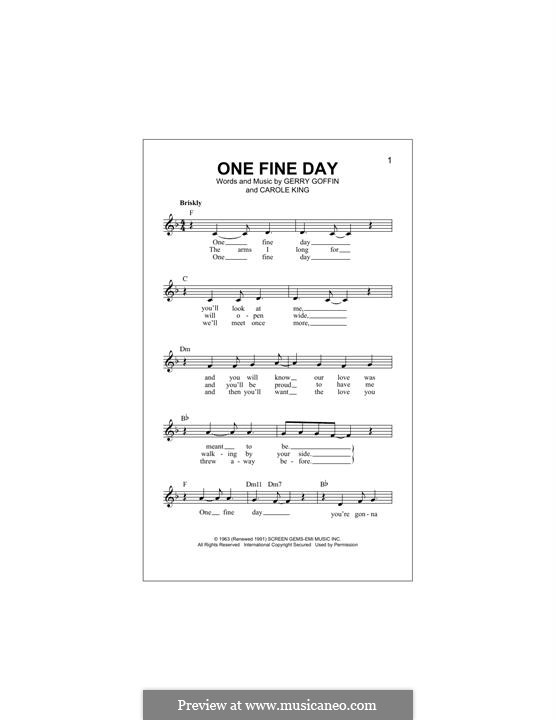 One Fine Day (Rita Coolidge): Melody line by Carole King, Gerry Goffin