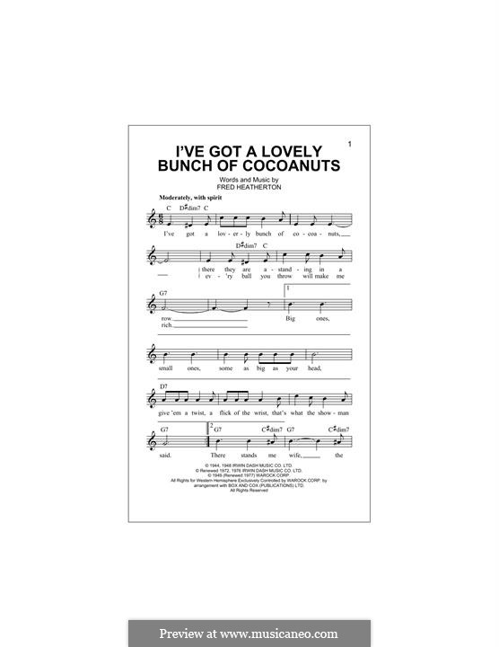 I've Got a Lovely Bunch of Coconuts (Danny Kaye): Melody line by Fred Heatherton