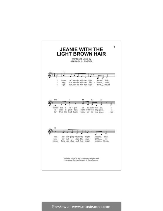 Jeanie with the Light Brown Hair: Melody line by Stephen Collins Foster