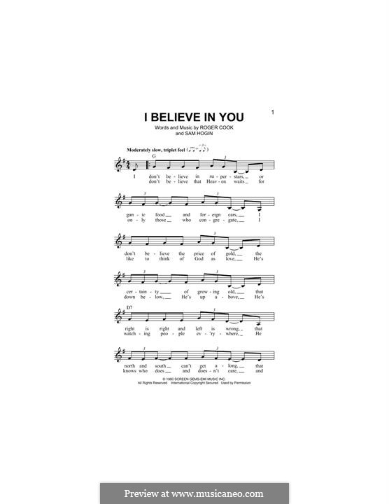 I Believe in You (Don Williams): Melody line by Roger Cook, Sam Hogin