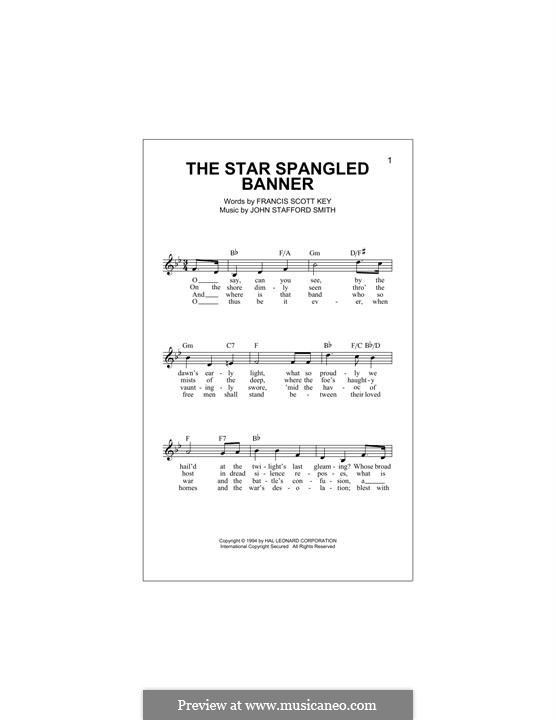 The Star Spangled Banner (National Anthem of The United States). Printable Scores: Melody line by John Stafford Smith