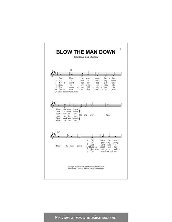 Blow the Man Down: Melody line by folklore