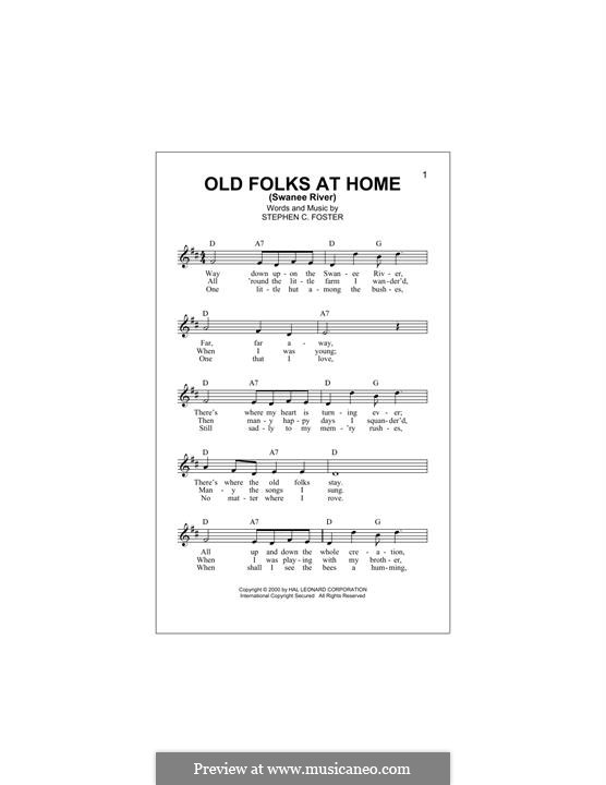 Old Folks at Home: Melody line by Stephen Collins Foster