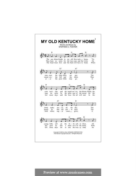 My Old Kentucky Home Good-Night: Melody line by Stephen Collins Foster
