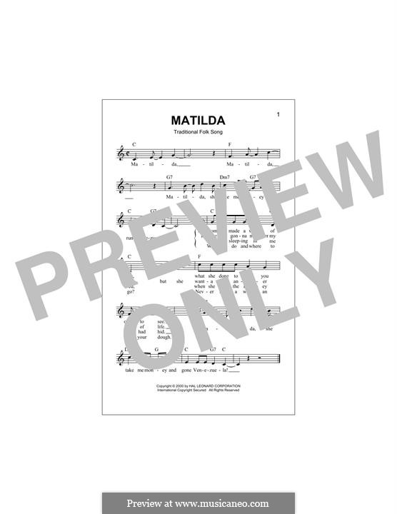 Matilda: Melody line by folklore