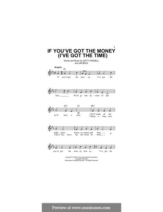 If You've Got the Money / I've Got the Time (Lefty Frizzell): Melody line by Jim Beck