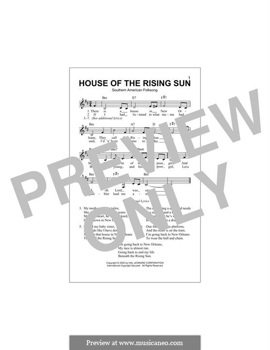 House of the Rising Sun: Melody line by folklore