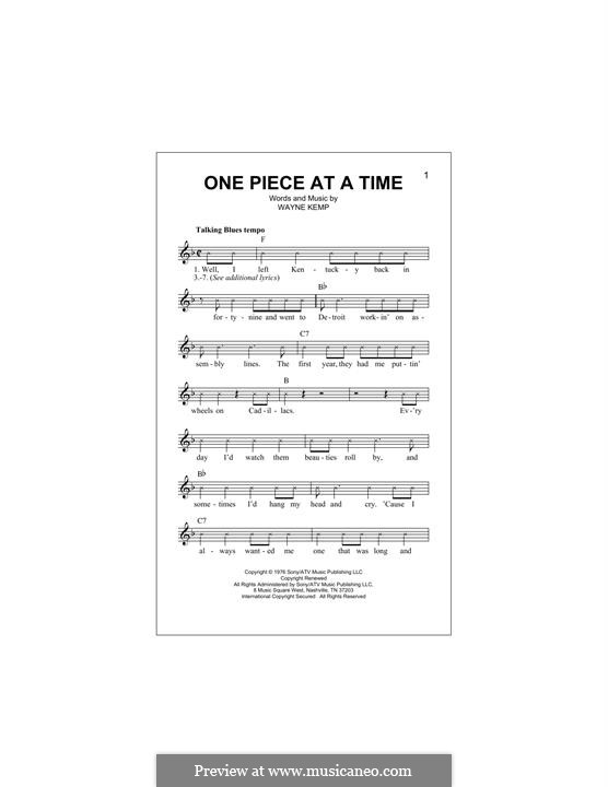 One Piece at a Time: Melody line by Wayne Kemp