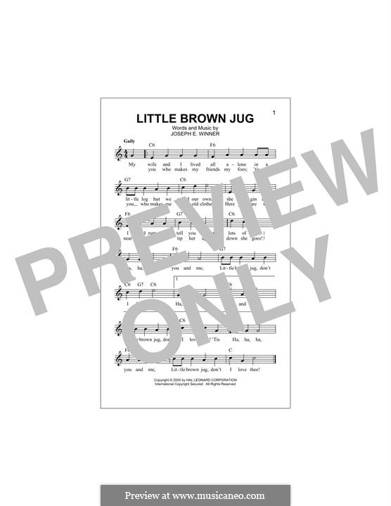 Little Brown Jug: Melody line by Joseph Eastburn Winner