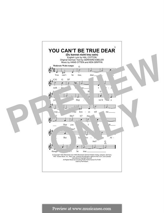 You Can't Be True Dear: Melody line by Hans Otten