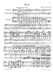 Piano Trio No.3 in E Flat Major, Op.24: Score by Friedrich Kiel