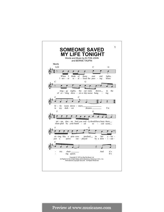 Someone Saved My Life Tonight: Melody line by Elton John