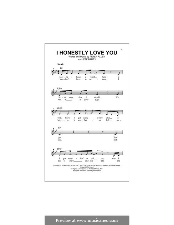 I Honestly Love You: Melody line by Jeff Barry, Peter Allen