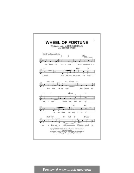 Wheel of Fortune (Kay Starr): Melody line by Bennie Benjamin, George David Weiss