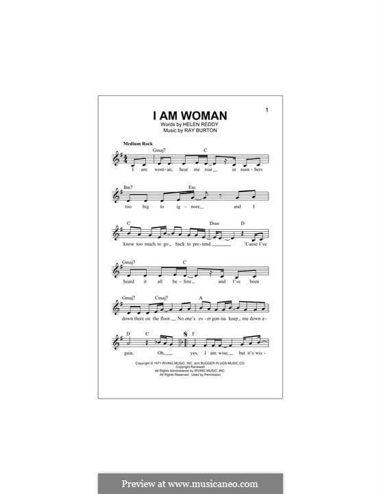 I am Woman: Melody line by Ray Burton