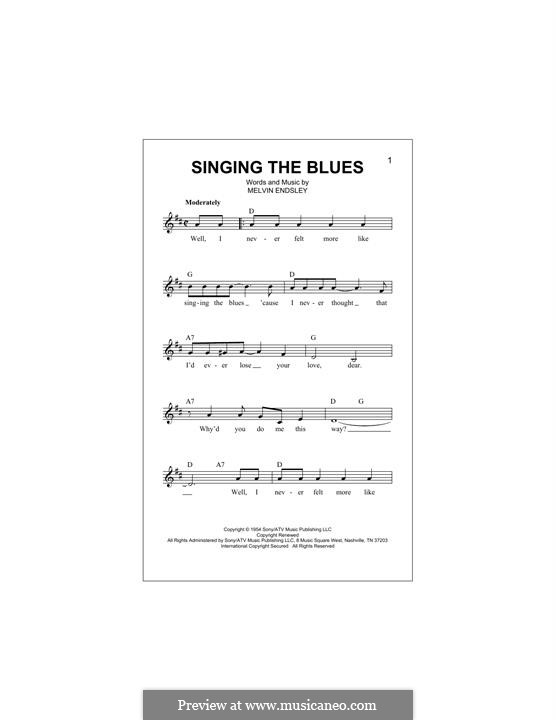 Singing the Blues: Melody line by Melvin Endsley