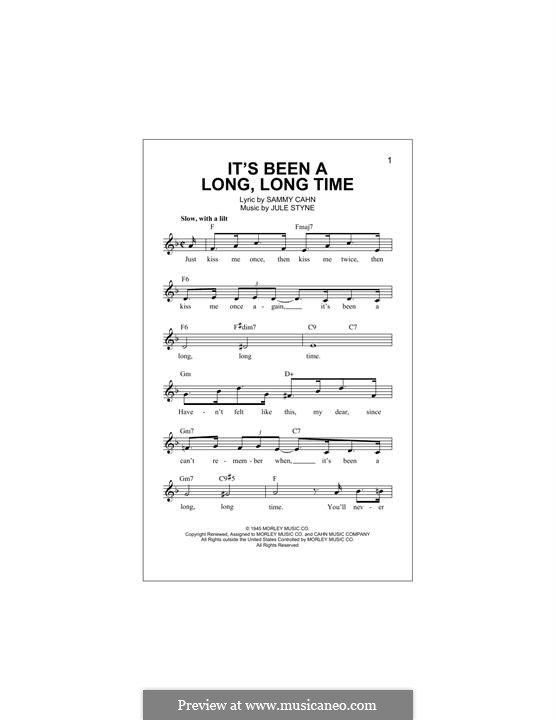It's Been a Long, Long Time: Melody line by Jule Styne