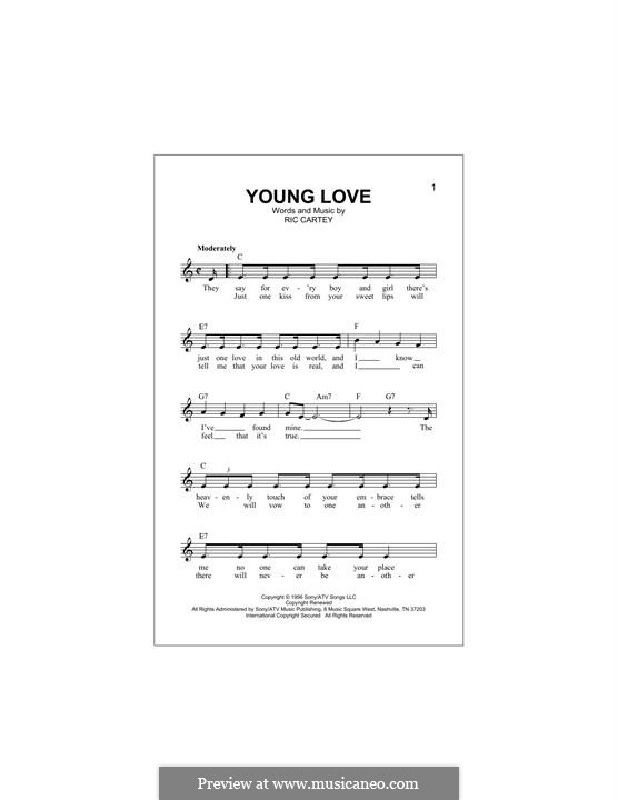 Young Love (Sonny James): Melody line by Carole Joyner, Ric Cartey