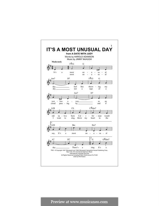It's a Most Unusual Day: Melody line by Jimmy McHugh