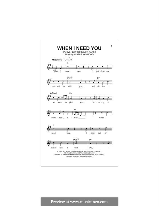 When I Need You (Celine Dion): Melody line by Albert Hammond