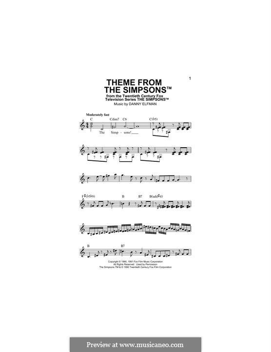 Theme from The Simpsons: Melody line by Danny Elfman
