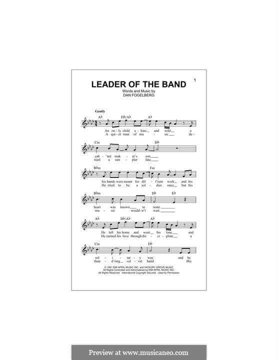 Leader of the Band: Melody line by Dan Fogelberg